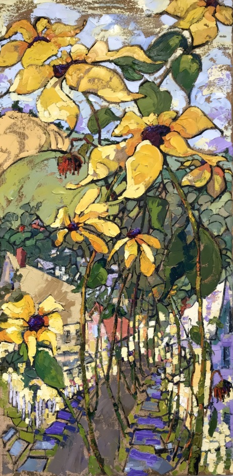 August Sunflowers, 24x40 in.