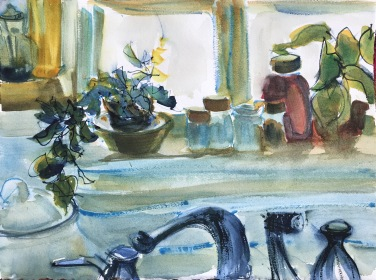 Kitchen Window, early morning, 14x10 in.