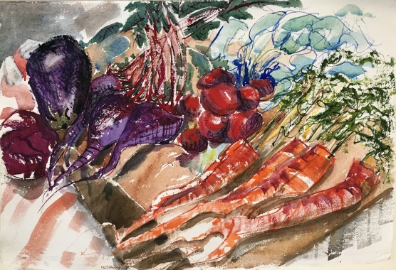 Vegetables in Shades of Red, 21x14 in.