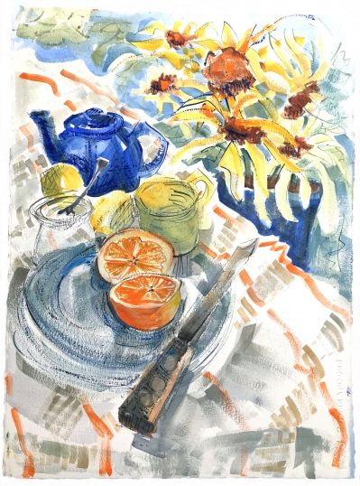 Blue Fiesta Ware Plate with Orange and Lemons, 21x32 in.