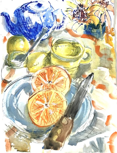 Fiesta Ware with Orange and Lemons, study, 10x14 in.