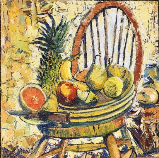 Fiesta Ware with Yellow Fruit in Artist's Studio, 30x30 in.