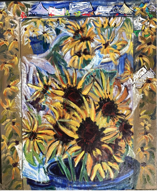 Sunflowers at the Market, acrylic on sealed cardboard laid on canvas, 20x24 in.
