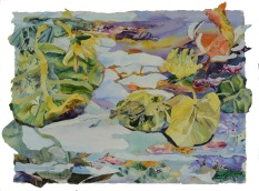 Lily Pads, jWatercolor collage,