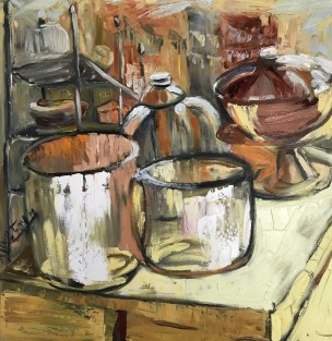 Italian Reflections, Oil/c ,25x25 in.
